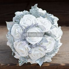 """Winter Wonderland"" small bridesmaid or Maid of Honor wedding bouquet with silver glitter accents  This stunning and sparkly piece of art is the"
