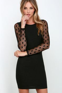 Save Me a Spot Black Long Sleeve Polka Dot Dress