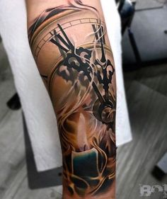 awesome Tattoo Trends - Relistic clock sleeve tattoo - 100 Awesome Watch Tattoo Designs ♥ ♥...