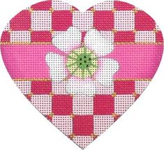 """""""Checker Board Heart"""" by Melissa Shirley Designs Size: x Mesh Count: 18 Wedding Cross Stitch Patterns, Cross Stitch Designs, Needlepoint Patterns, Needlepoint Canvases, Knitted Heart, Christmas Hearts, Cross Stitch Heart, Cross Stitch Embroidery, Sewing Crafts"""