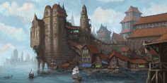 Docks Of Valura by FrankAtt landscape location environment architecture | Create your own roleplaying game material w/ RPG Bard: www.rpgbard.com | Writing inspiration for Dungeons and Dragons DND D&D Pathfinder PFRPG Warhammer 40k Star Wars Shadowrun Call of Cthulhu Lord of the Rings LoTR + d20 fantasy science fiction scifi horror design | Not Trusty Sword art: click artwork for source