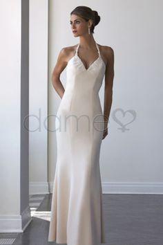 Strand Nackenband Satin Apfel Etui bodenlanges einfaches Brautkleid