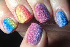 (Tried this.  I don't know what kind of witchcraft she used, but for me, the color soaked into the makeup sponge and just left me applying sparkle to my nails layer after layer.  So...good luck to you.)  Ashley is PolishAddicted: Rainbow Gradient PixieDust Mani!