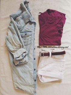 denim shirt + colored t-shirt + shorts