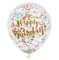 "12"" Glitzy Happy Birthday Confetti Balloons, 6ct"