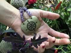 Compass Amethyst bracelet* purple crystals north south east west* Wanderlust, wanderluster, Crystal lover, travel, Gypsy, nautical star by LeFairie on Etsy
