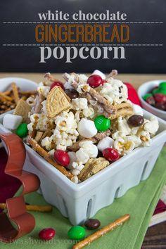 Wendi Hamel via I Wash You Dry White Chocolate Gingerbread Popcorn Popcorn Snacks, Popcorn Recipes, Snack Recipes, Holiday Treats, Holiday Recipes, Winter Wonderland, Chex Mix, Edible Gifts, Christmas Sweets