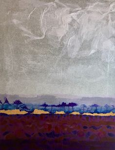 "Sold on the first day of the open studio event.  Large mixed media collage ""Tranquillity"" by Maureen Mitchell."
