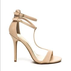 T-Strap Heels NIB Neutral open toe heels with two ankle straps. Zipper in back. New in box, height 4.25 BIGGER is discount when bundling  Shoes Heels