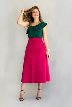 Color Blocking Outfits, Skirt And Top Dress, New Dress, Cute Photography, Teen Fashion, Fashion Trends, Casual Wear, High Waisted Skirt, Sexy