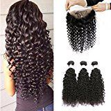 BEEOS Hair Pre Plucked 360 Lace Frontal with Bundles Deep Wave 8A Grade Brazilian Human Hair Weft with Baby Hair For Black Women Natural Color (12 14 16+10inch)
