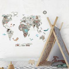 Vinilo infantil Mapamundi Animal neutro con todos los continentes y los animales más representativos a la venta en la tienda online de vinilos infantiles.