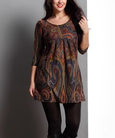 Love this Brown Paisley Empire-Waist Tunic - Plus by Reborn Collection on #zulily! #zulilyfinds Casual Work Outfits, Warm Outfits, Simple Outfits, Stylish Outfits, Short Shirts, Short Tops, Long Tops, Kurta Designs, Blouse Designs