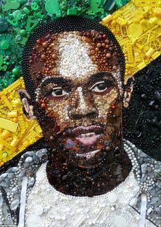 Artist:  Jane Perkins - Jamaican sprinter and Olympic gold medal winner Usain Bolt,