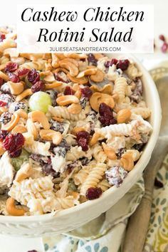 Cashew Chicken Rotini Salad ~ Loaded with Cashews, Grapes, Chicken, Pasta and Dried Cranberries! Perfect Pasta Salad Recipe for the Summer! via @julieseats