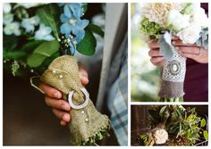 Burlap wrapped bouquets