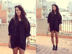 Secondhand Black Denim Jacket, Vagabond Boots