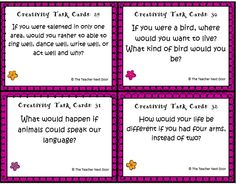 Freebie! Set of 32 Creativity task cards. Works well as a class discussion activity, a center, a writing prompt, or for fast finishers.