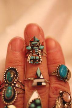 Zuni Inlay Ring Rainbow Kachina Doll Turquoise Onyx by gemforjoy