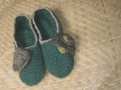 Crochet slipppers with flower detail women's by SoliloquyByKendra