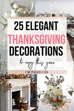 25 Easy & Elegant DIY Thanksgiving Decorations To Copy This Year White Pumpkin Centerpieces, Lighted Centerpieces, Thanksgiving Centerpieces, Table Decorations, Decoration Crafts, Art Crafts, Christmas Decorations, Thanksgiving Tree, Thanksgiving Recipes