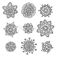 Doodle flower design elements. Royalty Free Stock Vector Art Illustration