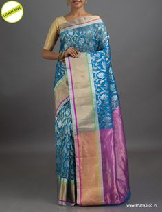 #LemonTree Lotus Bloom in Silver #ChanderiSilkSaree