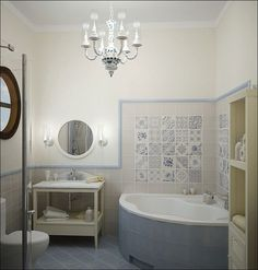 Create inspiration for a small bath and for using print in a small space