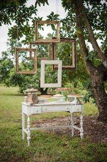 Add some creeping greenery in various places. hanging frame installation: 5 large picture frames suspended from a tree or other hang point. Floating Picture Frames, Large Picture Frames, Wedding Picture Frames, Hanging Picture Frames, Wedding Frames, Hanging Pictures, Tree Wedding, Rustic Wedding, Picture Frame Decor