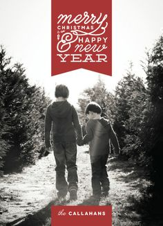 Ribbon Drop. Merry Christmas and Happy New Year holiday photo card. Designed by Hatch & Mingle.