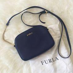 Furla bag Authentic. Mini cross body bag. Card pockets inside. Navy blue. Brand new Furla Bags Crossbody Bags