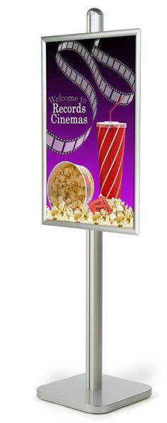 24 x 36 Poster Stand, Snap Open, Square Base - Silver