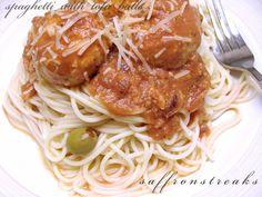 Spaghetti with tofu balls