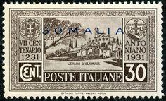 "Somalia (Italian Somaliland)  1931 Scott 131 30c gray brown, Blue Overprint Types of 1931 ""Saint Anthony of Padua Issue"""