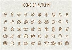 これは素敵!落ち葉やどんぐり、きのこ、リスなど、秋をテーマにした癒やし系アイコン素材 -icons of autumn