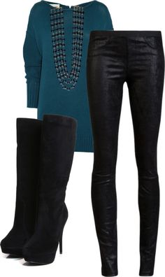"""Oversized sweater and leather leggings"" by anegativeone on Polyvore"