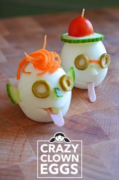 Crazy Clown Eggs- Great for kids lunch boxes. Food Art For Kids, Cooking With Kids, Cute Food, Good Food, Funny Food, Baby Food Recipes, Snack Recipes, Childrens Meals, Nom Nom Paleo