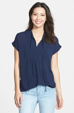 Textured Short Sleeve Peasant Top