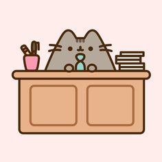 Pusheen is a business kitty Cat Wallpaper, Kawaii Wallpaper, Kawaii Drawings, Cute Drawings, Pusheen Love, Pusheen Stuff, Chat Kawaii, Funny Love Pictures, Cute Kawaii Animals