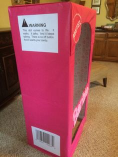 """""""Barbie in a box"""" costume 2015 side view showing warning label and UPC code"""