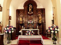 Altar con hortensias, muy tipico en Asturias