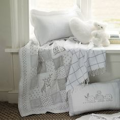 Buy Childrens Bedroom > Nursery > Elephants Quilted Cushion Cover from The White Company