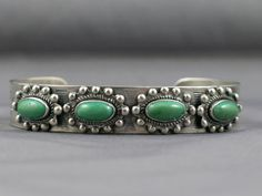 Navajo Silver & Green Turquoise Cuff by TheSilverSiren on Etsy