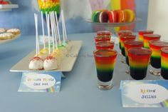 Rainbow jello and cake pops at a My Little Pony Rainbow Dash birthday party! See more party ideas at CatchMyParty.com!