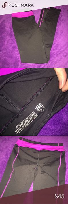 VSX Sexy Sport Black Pink Purple Legging Made sexy madesexy by VS Victoria's Secret  Leggings yoga Active pants, Black and purpleish color, I'd say it's more purple than pink but a little pinkish or a magenta color (you can see the contrast to the purple blanket in the background) Skinny style  Great condition Size XS Victoria's Secret Pants Leggings