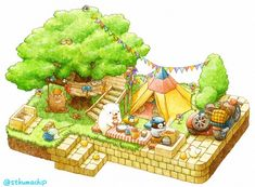 Happy picnic with friends Cute Animal Drawings, Kawaii Drawings, Cute Drawings, Bear Drawing, Isometric Art, Kawaii Illustration, Cute Chibi, Kawaii Art, Cute Bears