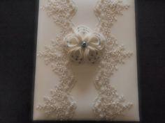 Memory Album Wedding Blue Gray Ivory Lace by ArtisanFeltStudio