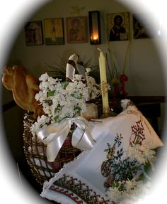 One of our Pascha Baskets--filled with Trinity Bread, Kulich, Paska Cheese, a candle, butter, salt, red eggs, and some champagne!