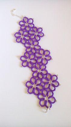 Цветочный браслет фриволите. Tatting bracelet