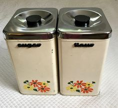 kitchen canister set . container set . 2 retro tin containers . sugar container . flower container . made in Canada . countertop tins by vintagous on Etsy Kitchen Containers, Kitchen Canister Sets, Tin Containers, Sugar Container, Container Flowers, Tea Caddy, Vintage Kitchen Decor, Indoor Garden, Retro